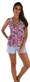 Pijama Adulto Feminino Curto Calor Verao Roupa Dormir
