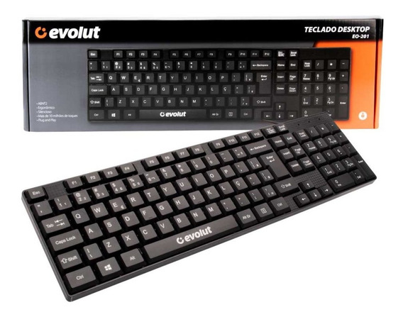 Teclado Office Evolut Eo-201 Usb Preto