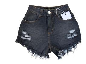 Short De Cós Alto Shorts Jeans Destroyed Desfiado Lady Rock