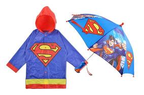 Impermeable Y Paraguas Para Niño Superman Dc Comics