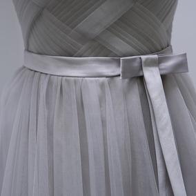 Vestido Fiesta Rosa, Gris Y Plata B-082801 Envio Gratis