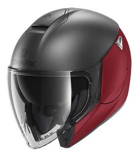 Casco Para Moto Abierto Shark Metro Citycruiser Dual Rojo