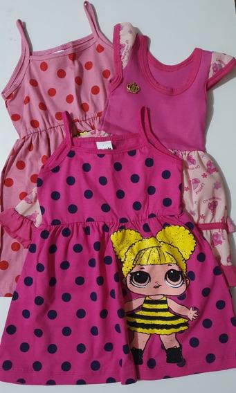 Roupa Infantil Kit Tamanho 01 - Vestidos Rosas, 3 Peças.