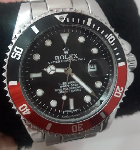 Relógio Masculino Submariner Prata - Vermelho Preto + 3 Baterias + Frete Grátis