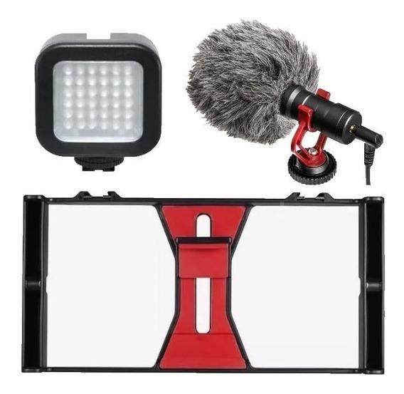 Kit Estabilizador Lampara Microfono Para Smarthphone
