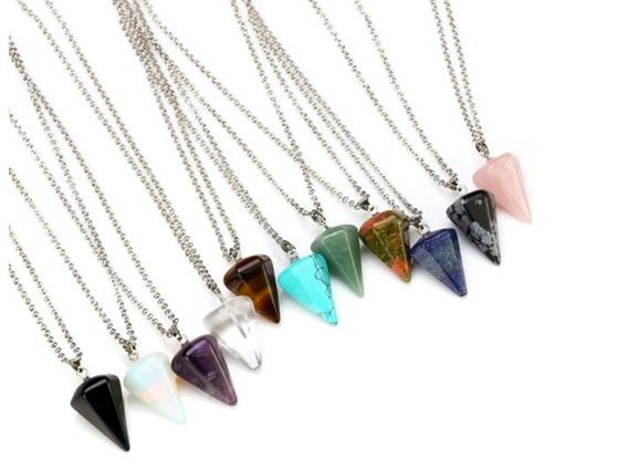 Colar Pêndulo Hexagonal Pedra Pingente Cristal Unissex Jóia