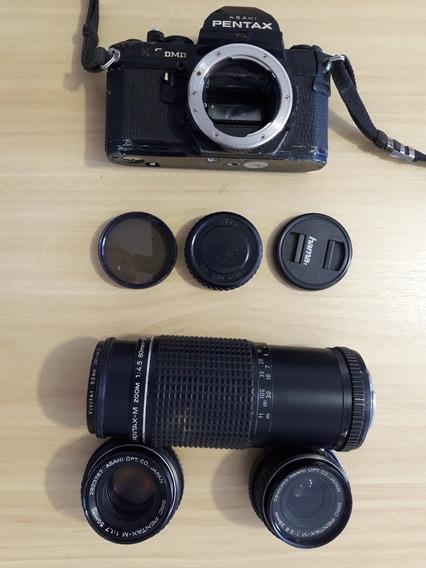 Pentax K2 Analógica Com Lentes 50mm, 28mm E Zoom 80x200mm