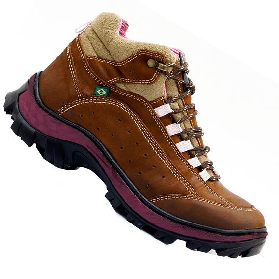 Coturno Feminina Em Couro Legítimo Bota Atron Shoes