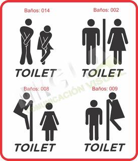 Calco Baño Hombre Mujer Vinilo Puerta Toilet Vidrio