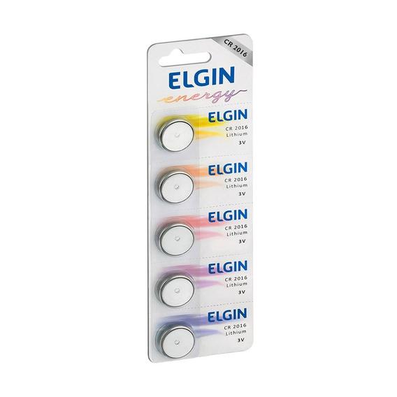 Bateria Lithium Elgin Cr2016 Botão 3v Blister Com 5 Unidade