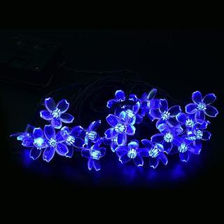 Luces Navidad, Decoración Flores Azules. Panel Solar