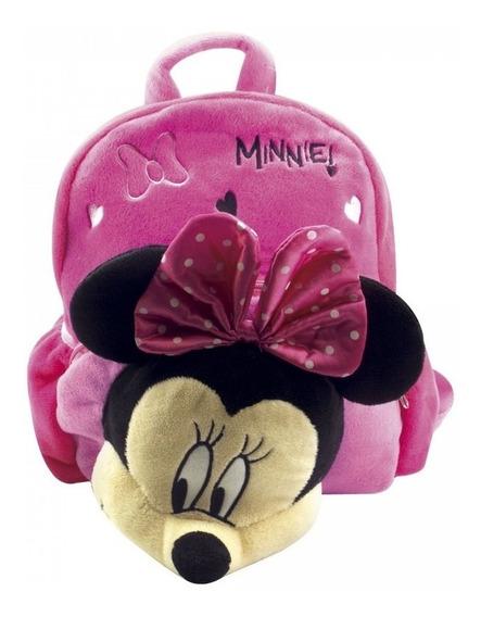 Mochila Infantil Pelúcia Rosa Rosto Minnie Mouse 3d Disney