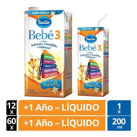 Sancor Bebe 3 Combo Leche Vainilla 200ml X60u. + 1lt X12u.