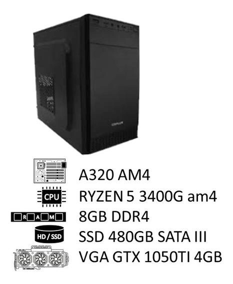 Pc Amd Ryzen 5 3400g, 8g Ddr4, Ssd 480g, 500w, Gtx 1050ti 4g