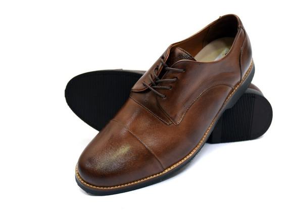 Sapato Social Bico Redondo Marrom Couro Numeros Grandes
