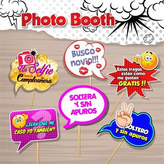 4 Habladores, Cartel Photo Boom, Fiestas Bodas, 15años