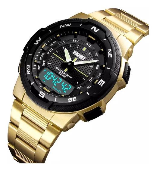Relógio Skimei Gold Relógio De Luxo, Frete Grátis