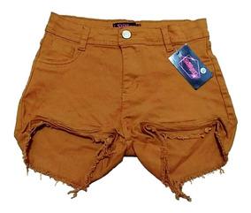 Short Jeans Estilo Hot Pants Destroyed Com Botão Anita