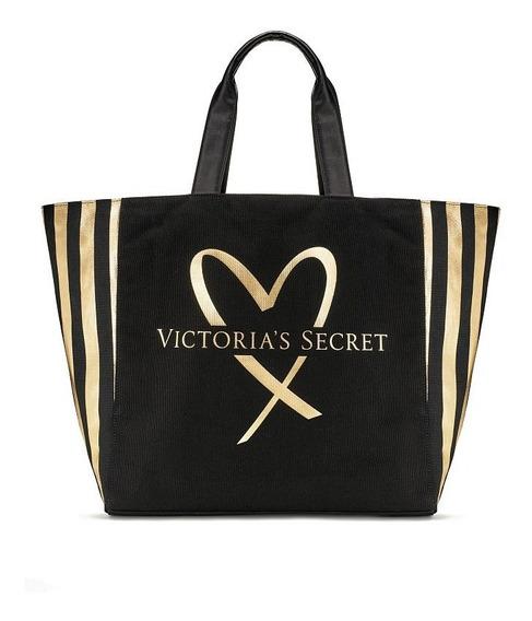 Bolsa Preta Com Lateral Listrada Dourada - Victoria Secret