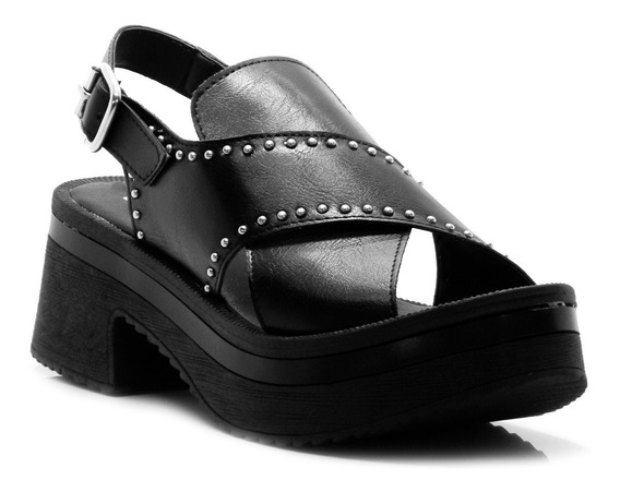Sandalia Zapato Mujer Negro Hebilla Savage Moda Verano