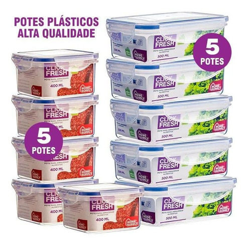 Imagem 1 de 5 de Kit 10 Potes Plásticos Herméticos Alta Qualidade Click Fresh