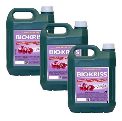 Imagem 1 de 1 de Kit C/ 3uni- Desinfetante Multiuso Bio Kriss Violex 5 Litros