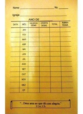 Envelopes Contribuição Dízimos E Ofertas Modelo Anual 100 U
