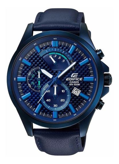 Relogio Casio Edifice Masculino Efv-530bl 2avudf Couro Azul