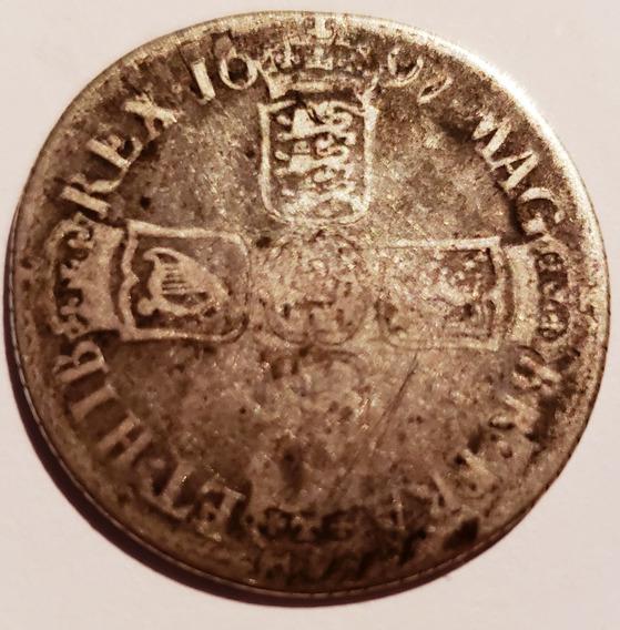 Inglaterra 1697 Shilling Moneda Antigua Plata Guillermo 3ro