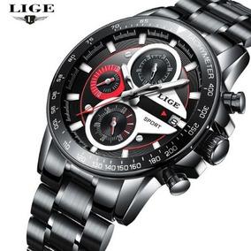 Relógio Masculino Lige 9835 De Luxo Quartzo Aço Inoxidável