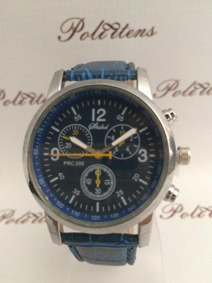 Relógio De Pulso Classico Luxo Azul Shaarms P2509