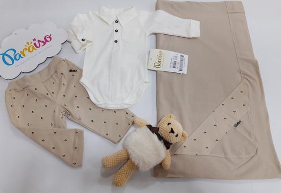 Saida Maternidade Menino Paraiso Moda Bebê Luxo Macacao Enxoval Bege Cod 9057