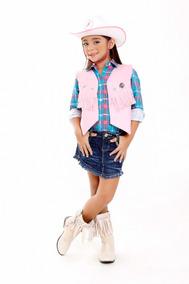 Colete Cowboy Feminino Infantil Com Chapeu Menina Country