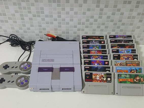 Super Nintendo + 2 Controles + 12 Jogos A Sua Escolha!!!