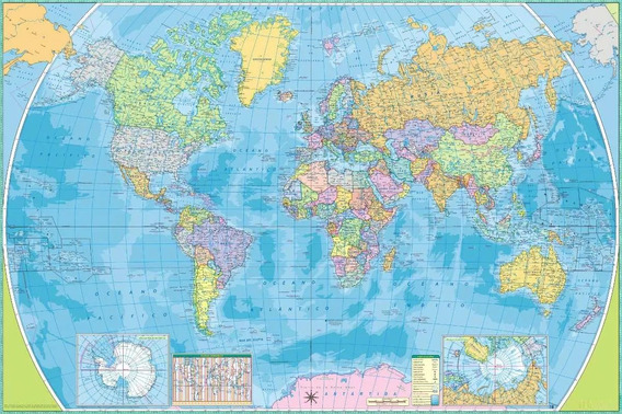 Mapamundi Mural Mapa Mundial Con Nombres