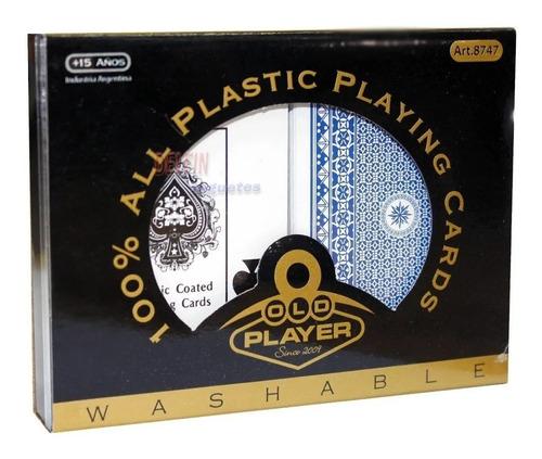 Naipes De Plastico 2 Mazos Old Player