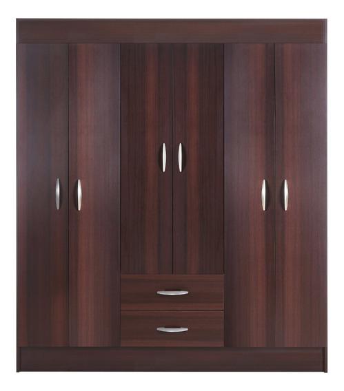 Closet Cic Trancura 6 Puertas 2 Cajones 156 Cm Chocolate