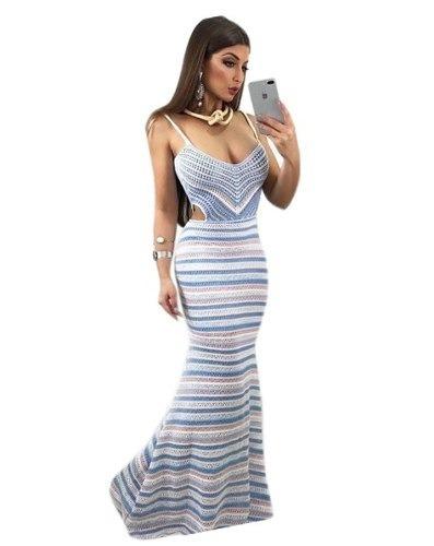 857841cabe1c Vestido Longo Listrado Tricot Tricô Decote Na Cintura Alça - R$ 67,99 em  Mercado Livre