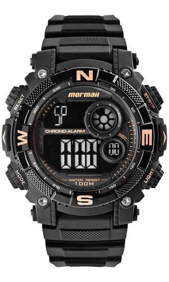 Relógio Mormaii Masculino Mo12579d/8j Negativo Preto Rose
