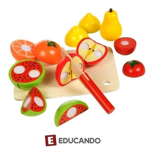 Juego Frutas Madera Para Cortar Con Velcro Acool Ac7631 Full