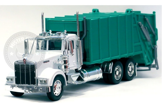Caminhão Kenworth W900 Coleta De Lixo Branco/verde 1/32