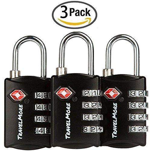 Paquete De 3 Cerraduras De Equipaje Tsa Con Combinación De 4