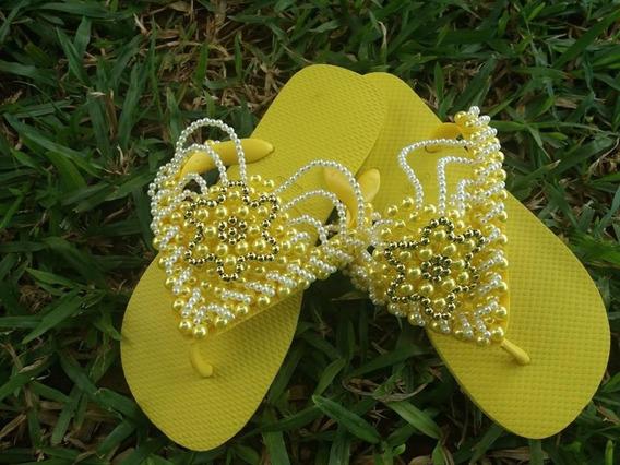Chinelo Havaianas Amarelo Personalizado Pedrarias