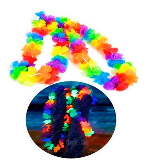 12 Collares Hawaianos Neon Lun Negra Fluorecentes Fiesta