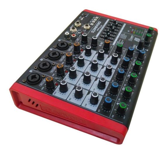 Mesa De Som Pequena C/ Efeito Bluetoo Mc 6 Plus Soundvoice