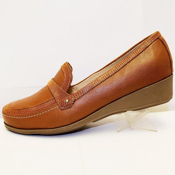Zapato Capricho Casual Para Pie Amplio Muy Cómodo Msi Brandy
