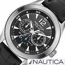 Relógio Nautica A14621g Pulseira Em Couro