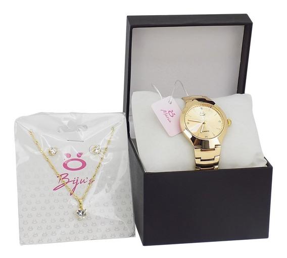 Relógio Feminino Dourado Orizom Maria Liquidação