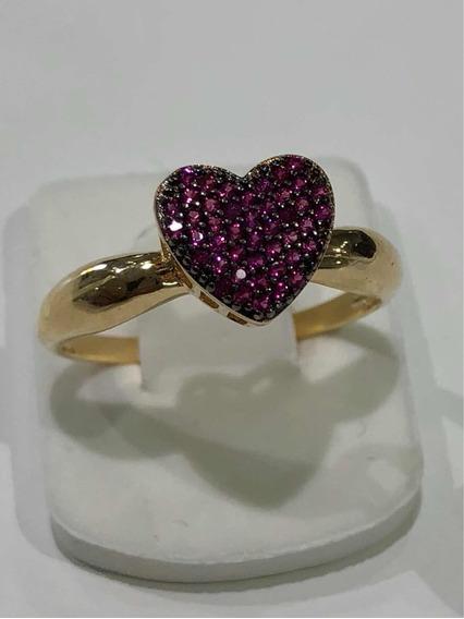 Anel Chuveiro Coração Ouro 18 K Zirconia Vermelho