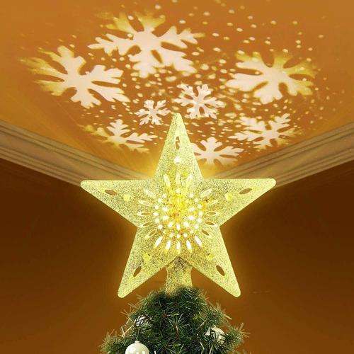 Imagen 1 de 9 de Topper Para Árbol Navidad Estrella Con Luce Led De Proyector